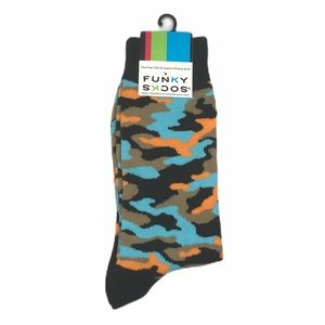 Funky Socks Camo Crew Socks, Black, Blue